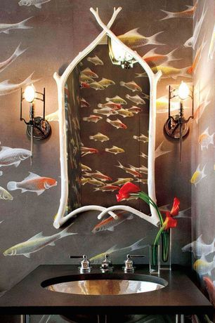 Eclectic Powder Room with Wisteria white faux bois mirror, Rasch stylized fish wallpaper