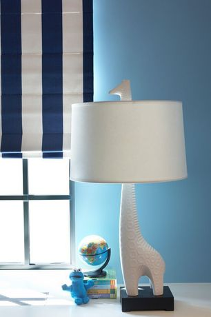 Contemporary Kids Bedroom with Deeanas designs standard roman shade navy blue and white stripe, High ceiling