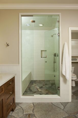 Rustic Master Bathroom with Crown molding, Wall Tiles, Standard height, Inset cabinets, Handheld showerhead, Shower