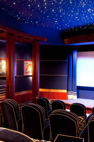 Contemporary Home Theater with Paint, Cinestarpanel - star ceiling panels, Carpet, Columns, Custom theater seating