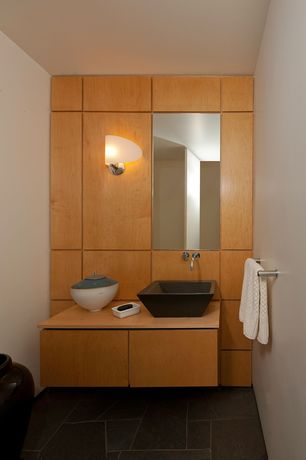 Contemporary Powder Room with Wood counters, Wall sconce, Vessel sink, Powder room, European Cabinets, Standard height, Flush