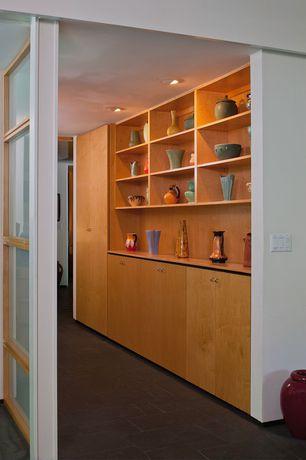 Modern Hallway with can lights, Carpet, Built-in bookshelf, Standard height