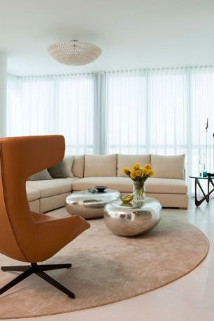 Contemporary Living Room with Standard height, simple marble floors, flush light, picture window