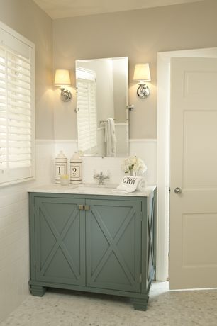 Traditional Powder Room with Vintage rectangular pivot mirror, Wilshire single sconce, Paint, Paint 1