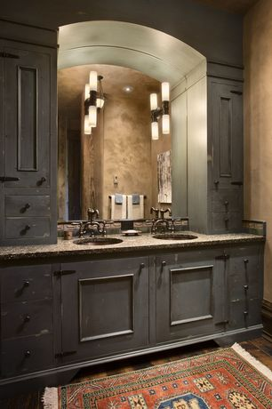 Eclectic Full Bathroom with Double sink, European Cabinets, Pendant light, Ms international african rainbow granite counter