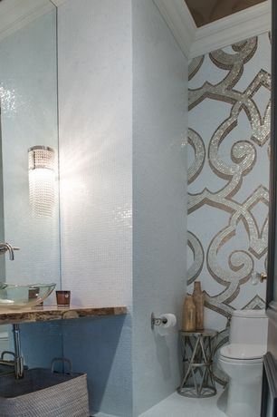 Contemporary Powder Room with Wall Tiles, ceramic tile floors, specialty door, Vessel sink, Standard height, Powder room