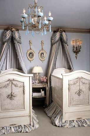 Traditional Kids Bedroom with Crown molding, Crib, Carpet, Wall sconce, Chandelier, Standard height, no bedroom feature