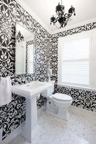 Traditional Powder Room with Casement, Chandelier, Crown molding, Powder room, ceramic tile floors, Pedestal sink