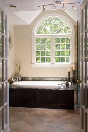 Cottage Master Bathroom with French doors, flush light, Master bathroom, Arched window, Arizona tile latte travertine