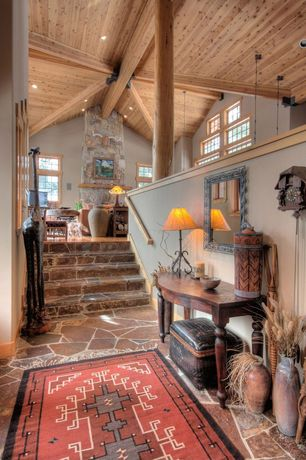 Eclectic Entryway with Casement, Exposed beam, Paint, can lights, travertine floors, Loft, Standard height