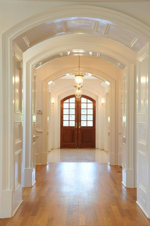 Traditional Entryway with Hardwood floors, Plain Polyurethane Panel Moulding, Glass panel door, marble floors, Crown molding