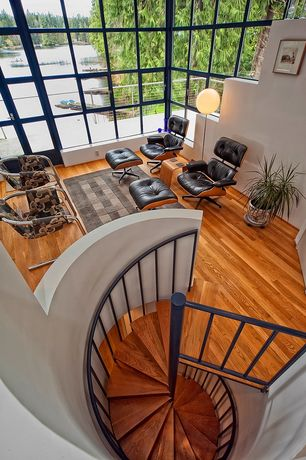 Modern Staircase with Casement, High ceiling, Spiral staircase, Laminate floors, French doors, Carpet