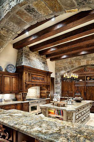 Rustic Kitchen with Flush, Stone Tile, Kitchen island, Ballarddesign arturo 8-light rectangular chandelier, Undermount sink