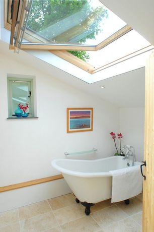 Cottage Master Bathroom with Skylight, Master bathroom, Clawfoot, travertine tile floors