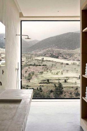 """Eclectic 3/4 Bathroom with Native Trails NSL3619 Trough 36"""" NativeStone Bath Sink, Gedy Rain Showerhead with Arm"""