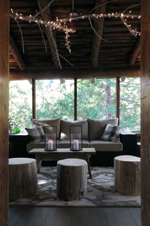 Rustic Porch with Screened porch, Tree Stump Stool Seat