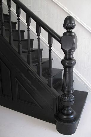 Traditional Staircase with Hardwood floors, Paint, High ceiling, curved staircase, Wainscotting