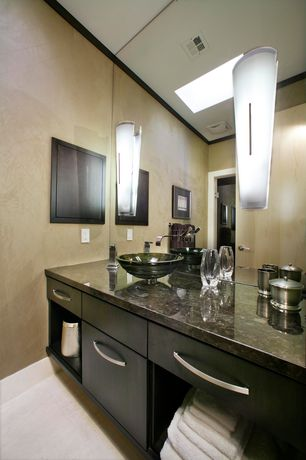 Modern Full Bathroom with Built-in bookshelf, Crown molding, High ceiling, Flush, Simple granite counters, Vessel sink
