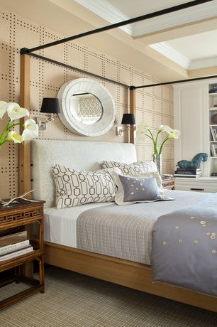 Contemporary Master Bedroom with Howard elliott fantasia 32 x 32 white mirro, Four poster canopy bed, Built-in bookshelf