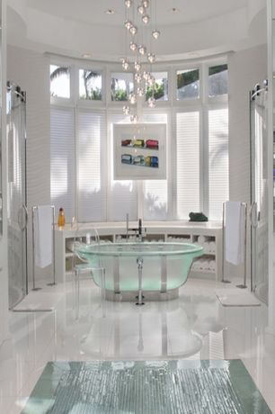 Modern Master Bathroom with Chandelier, Master bathroom, Pedestal bathtub from Jason International, Corian counters
