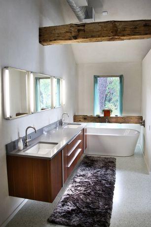 Contemporary Master Bathroom with Bathtub, Standard height, Freestanding, Exposed beam, Master bathroom, Double sink, Flush