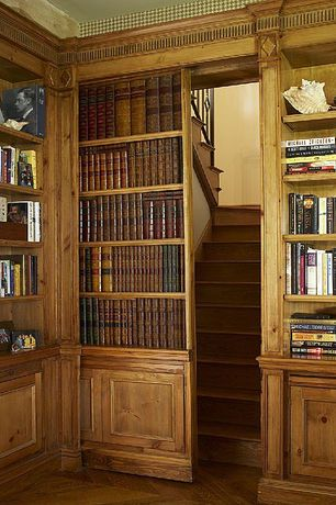 Craftsman Library with Hardwood floors, DIY Secret Door Bookshelf, Built-in bookshelf, specialty door