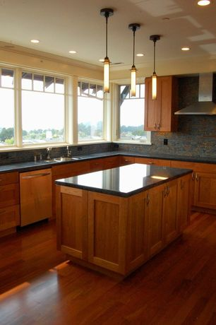 Craftsman Kitchen with L-shaped, Kitchen island, Simple granite counters, Chesterfield hazelnut solid hardwood, Flush, Ba1063