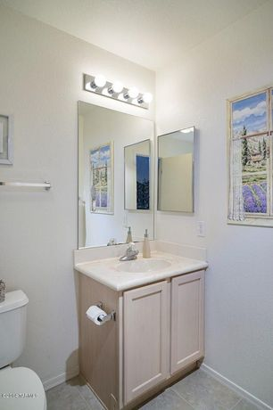 Traditional Powder Room with Complex marble counters, Sunset Lighting 4 Light Bath Vanity Light, Inset cabinets, Powder room