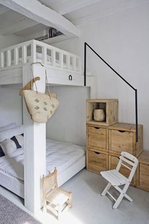 Cottage Guest Bedroom with Exposed beam, Hardwood floors, Callum platform full-over-full bunk bed, Built-in bookshelf