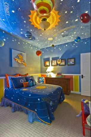Eclectic Kids Bedroom with Standard height, Paint, flush light, Carpet, no bedroom feature, All systems are go bedding