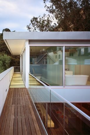 Contemporary Deck with Deck Railing, picture window