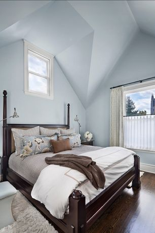 Master Bedroom with Paint, Hardwood floors, double-hung window, picture window, High ceiling