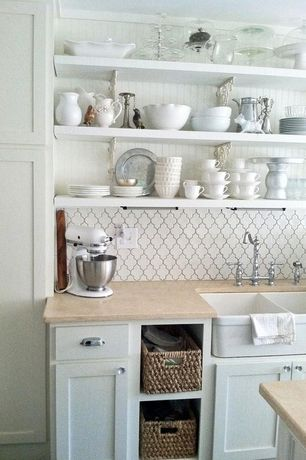 Country Kitchen with Limestone counters, Mosaic tile stone - beveled arabesque white (similar), Open shelving, Beadboard