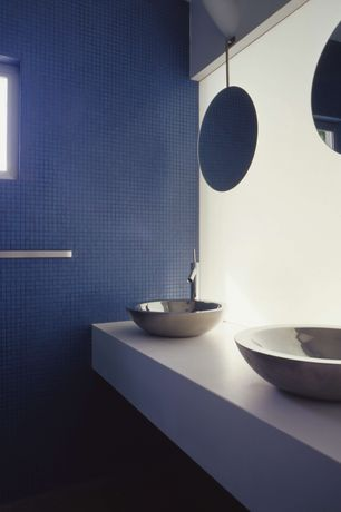 Contemporary Full Bathroom with Double sink, Powder room, Corian counters, Wall Tiles, Casement, Vessel sink, Standard height