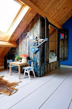 Eclectic Kids Bedroom with Skylight, Paint 2, Bunk beds, Hardwood floors, Animal hide rug, Standard height, Paint