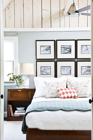 Cottage Master Bedroom with Gallery wall, Carpet, French doors, Prinz gallery expressions picture frame 10x10, High ceiling