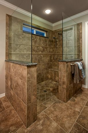 Modern Master Bathroom with Crown molding, Handheld showerhead, flush light