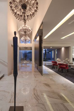 Contemporary Hallway with Chandelier, flat door, simple marble floors, picture window, High ceiling