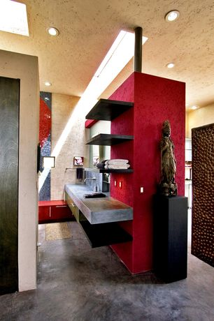 Eclectic Master Bathroom with Concrete floors, Standard height, Skylight, Built-in bookshelf, can lights