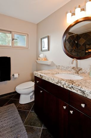 Contemporary Full Bathroom with Casement, wall-mounted above mirror bathroom light, Undermount sink, Shower, can lights