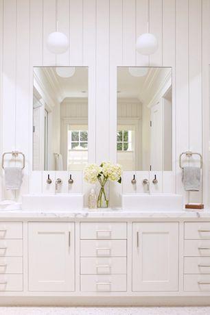 Traditional Master Bathroom with stone tile floors, Pendant light, Flush, Flat panel cabinets, Master bathroom, Double sink