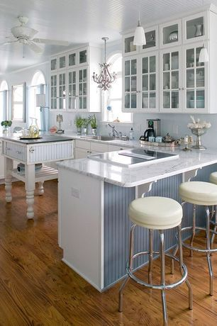 Country Kitchen with European Cabinets, Wall sconce, Pental aspen honed marble, Pendant light, Crown molding, Glass panel