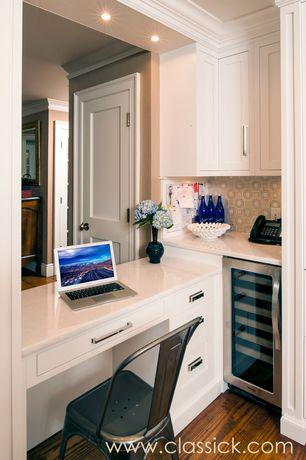 Modern Kitchen with specialty door, full backsplash, Crown molding, Standard height, Wine refrigerator, Inset cabinets