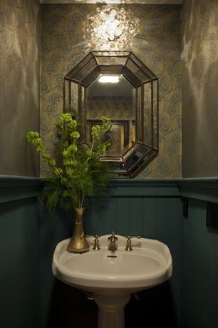Traditional Powder Room with Peacock tail wallpaper, Paint, Tranquil crystal bubble and chrome flush-mount chandelier