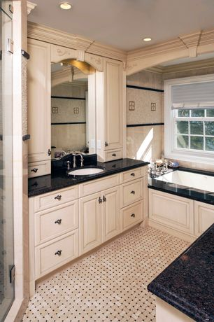 Traditional Full Bathroom with Quartz, Undermount sink, Master bathroom, Flush, Flat panel cabinets, Quartz counters