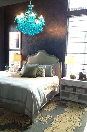 Eclectic Guest Bedroom with Venetian plaster, Lamps plus velvet light grey arched border beds, Chandelier, Transom window