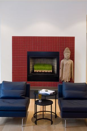 Contemporary Living Room with Fireplace, brick fireplace, Standard height, Hardwood floors