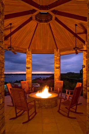 Rustic Patio with Walmart, Fence, Grandinroad, exterior tile floors, Fire pit