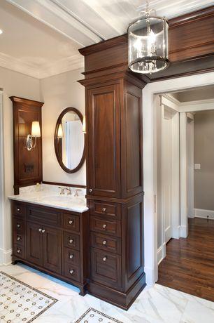 Traditional Master Bathroom with specialty door, Built-in bookshelf, Golden lighting payton 4 light foyer pendant, Flush