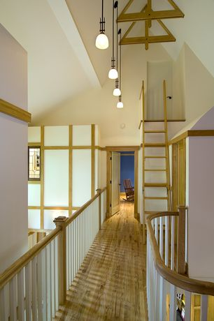Craftsman Hallway with flat door, six panel door, Pendant light, Casement, Exposed beam, Loft, Hardwood floors, High ceiling